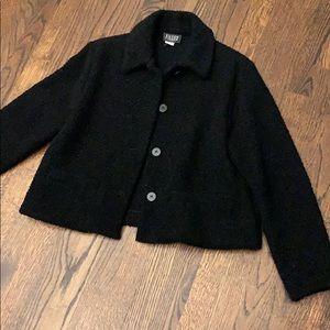 Eileen Fisher NY pea coat black lightweight S